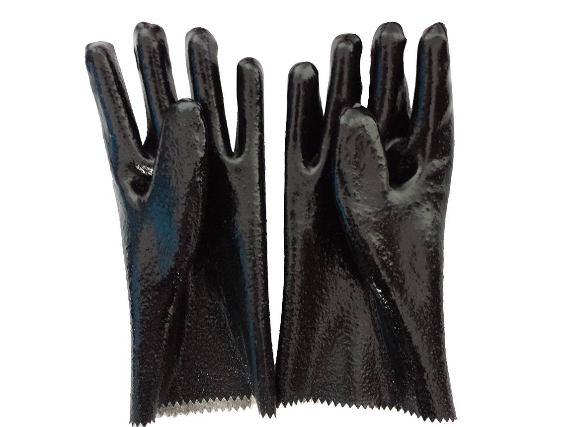 27cm black rough finished PVC working safety gloves