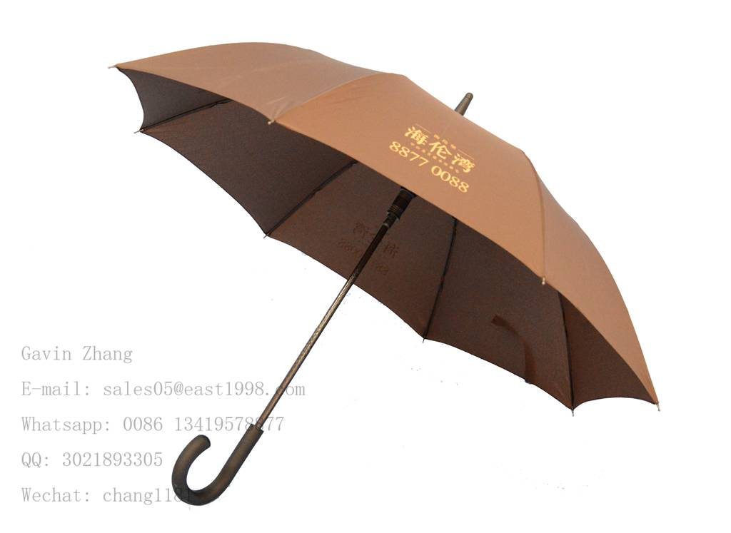 auto open black windproof straight umbrella with uv protection