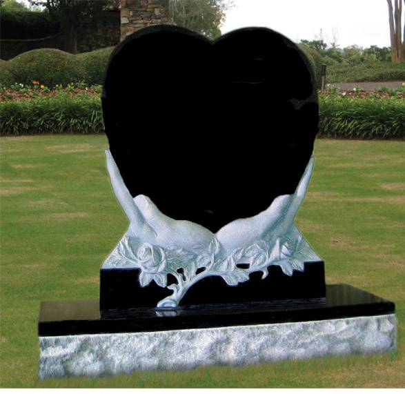 Heart in the hand headstone black monument granite tombstone