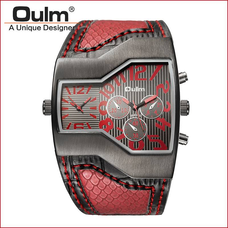 oulm men watch quartz PC21S movt big face watch