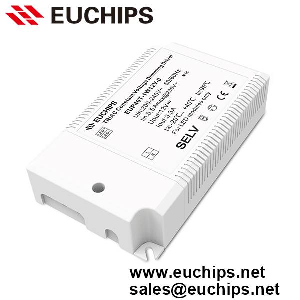 40W 40-240VAC 3.3A 1 channel constant voltage triac led driver dimmable EUP40T-1W12V-0