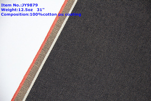 12oz Pu coating Slub Selvedge Denim Jeans Fabric Competitive Price 0773-2