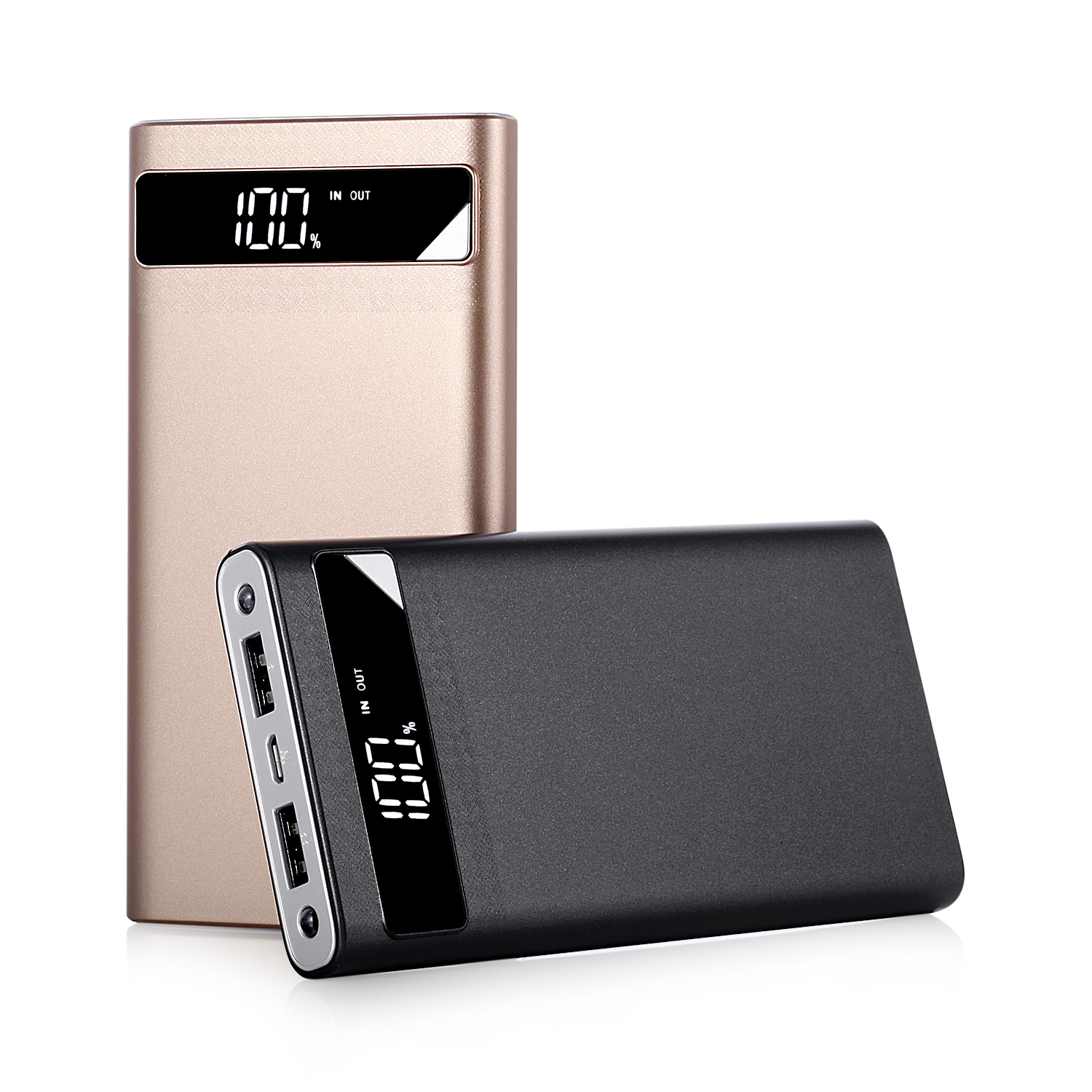 LCD Power Bank 10000mAh with Dual Strong Flashlight