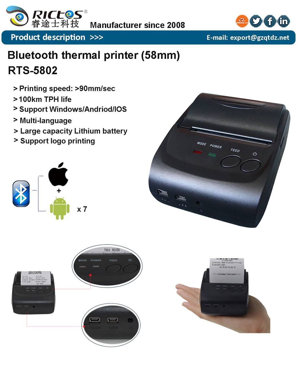 Portable 58mm bluetooth android thermal printer