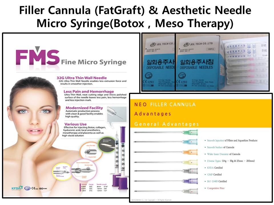 Dermatology : Filler Cannula (Fat-Graft),Micro-Syringe( Boxtox,MESO), Aesthetic-Needle