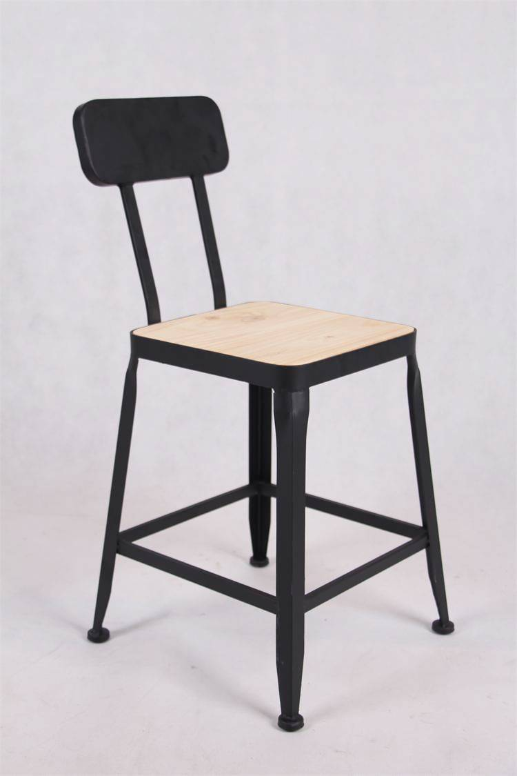 Cheap Pine Seat Dining Chair Kitchen Black Iron Metal Chair Wholesale