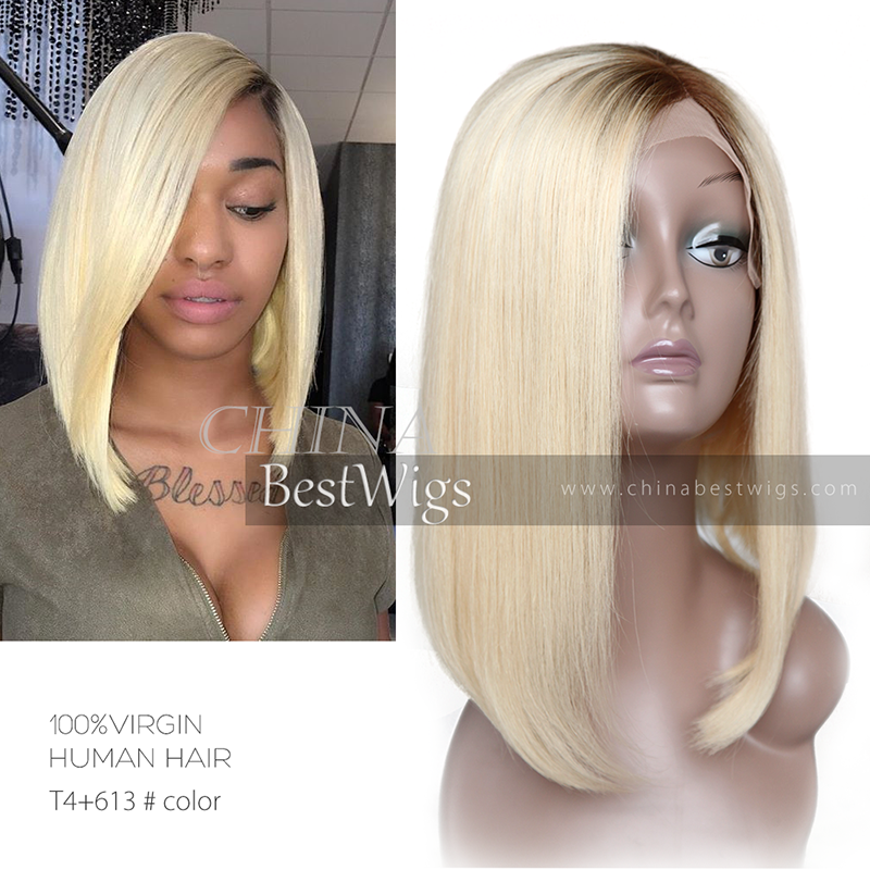 ombre blonde virgin hair lace front wig