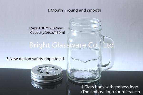 drinking glass mason jar with straw lid and handle