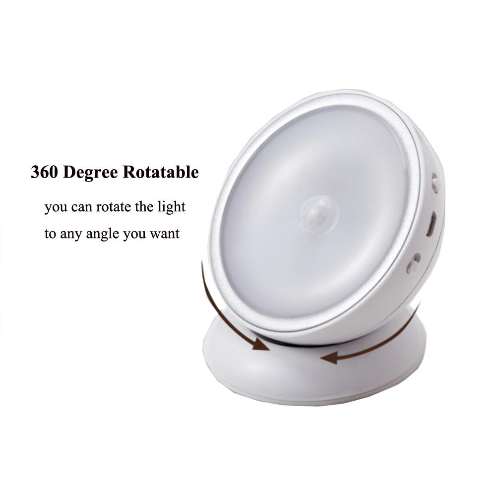 USB Rechargeable 360 Degree Rotating Motion Sensor Small LED Night Light
