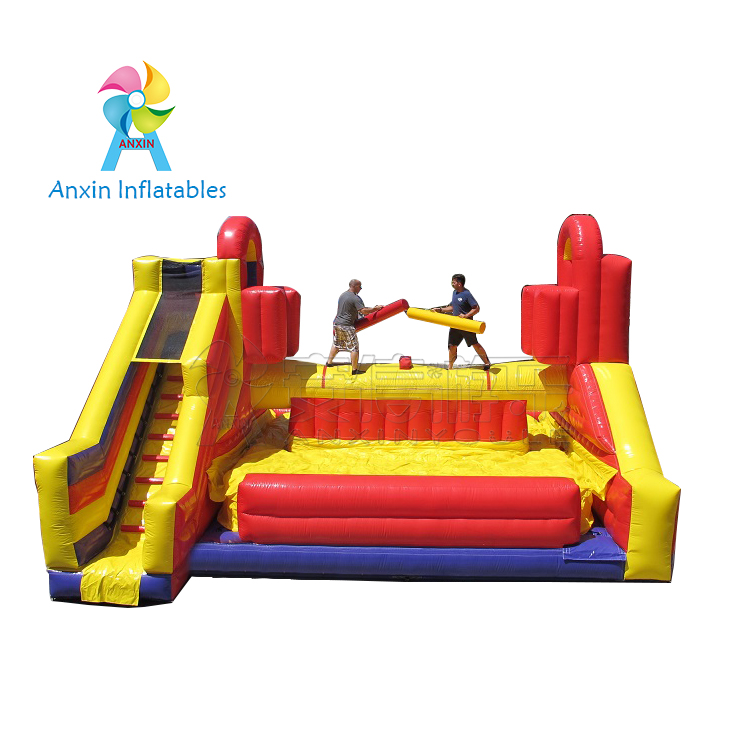 Popular inflatable gladiator jousting with slide, battle zone inflatable Gladiator duel game