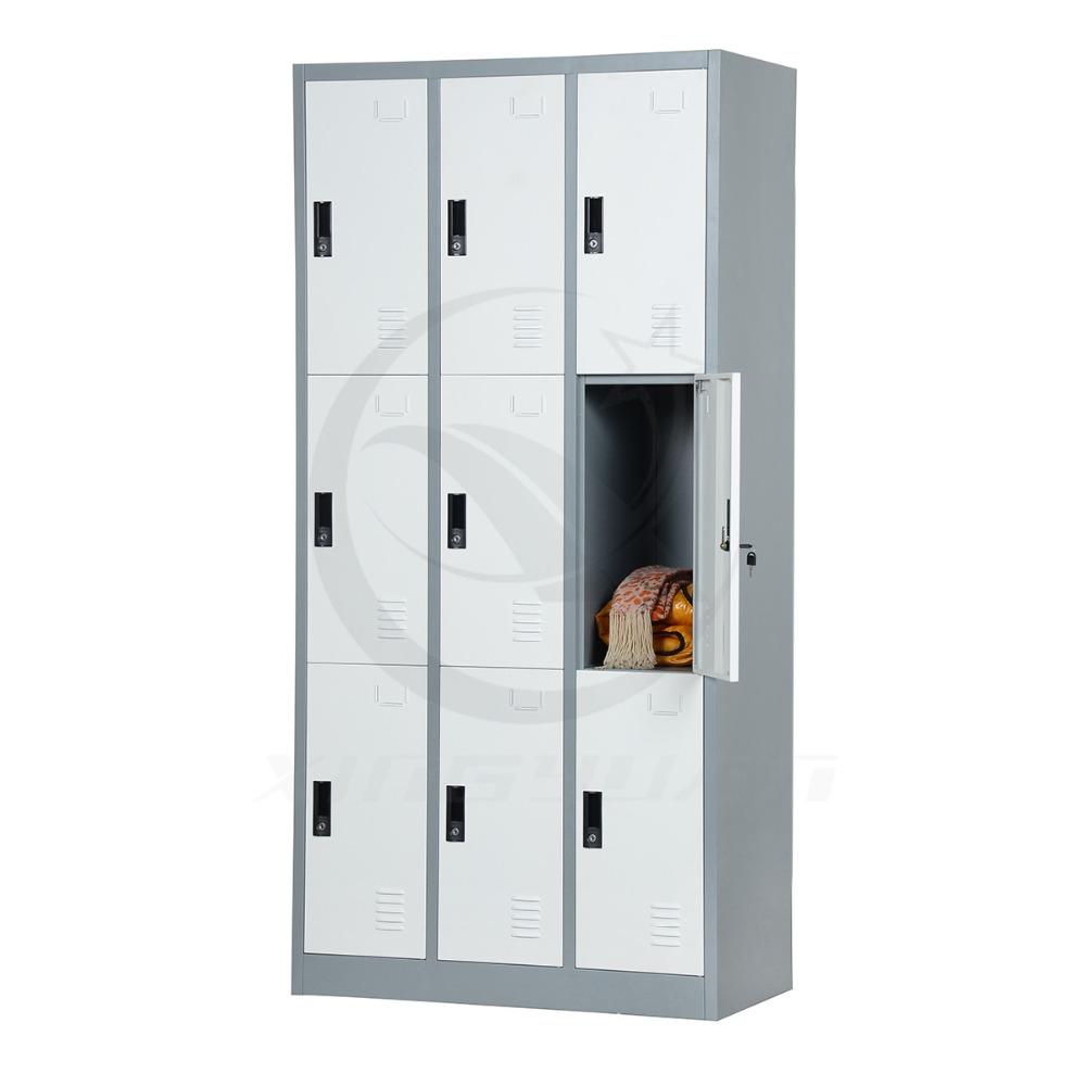 Electrostatic powder coating detachable 3 tier 9 door storage locker