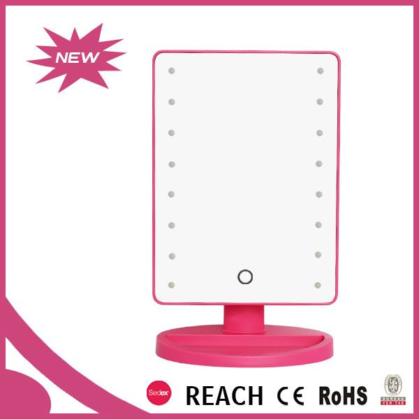 Dressing table plastic single square cosmetic mirror with led light