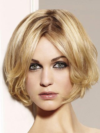 human hair Short Wavy Bob Lace Wig with Curly Ends
