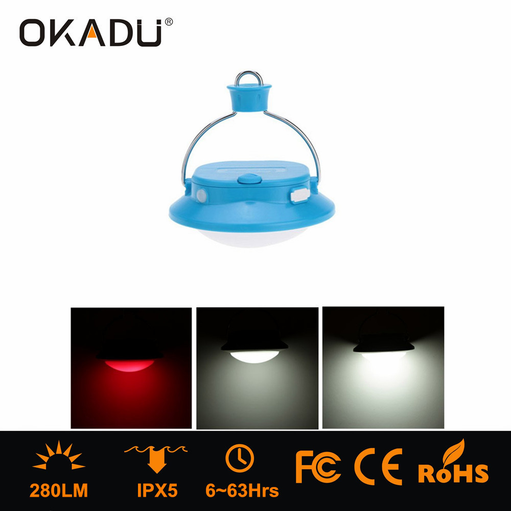 OKADU FL06 Colorful Hanging Camping Lantern LED Tent Light with USB Port For Mobile Phone Emergency