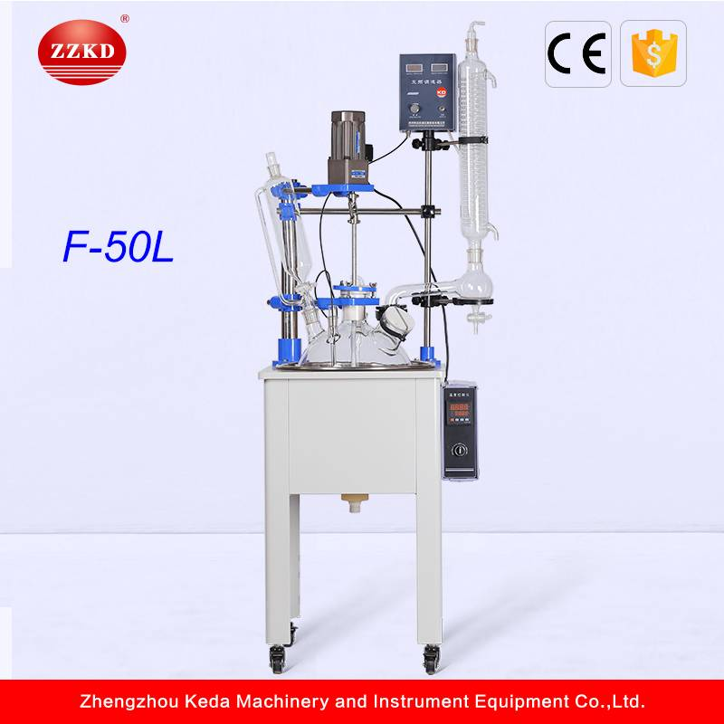 Single Layer Glass Chemical Reactor with PFFE Coating Stirrer