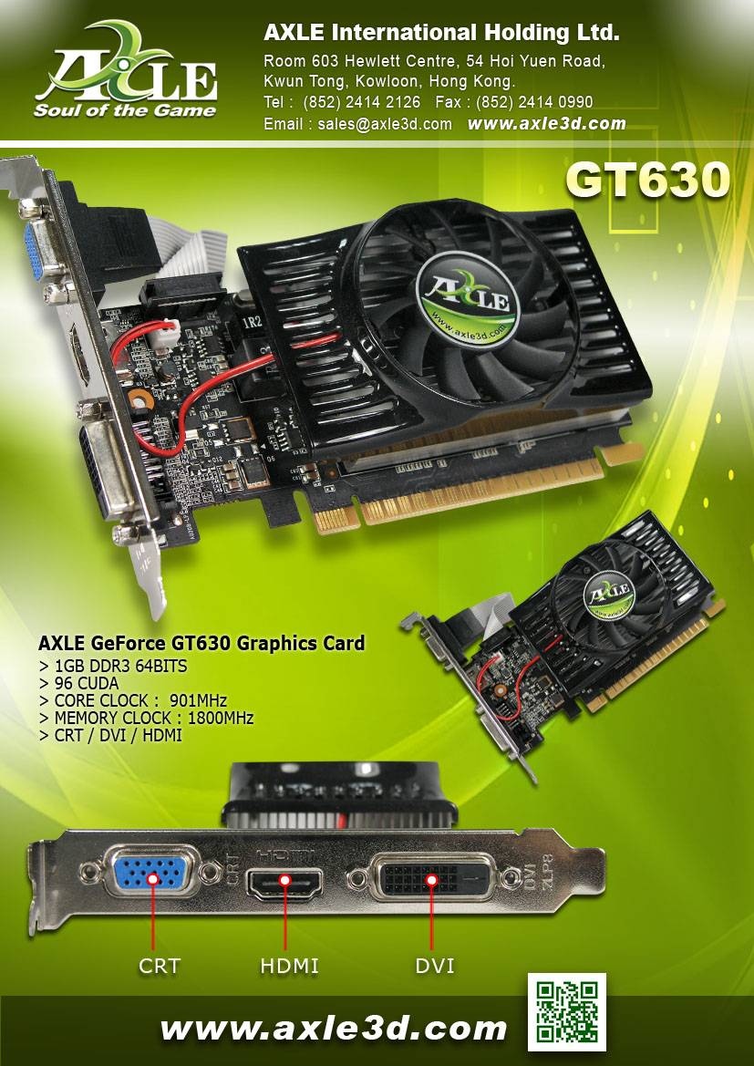AX-GT630/1GD3P4CDIL Graphics card/