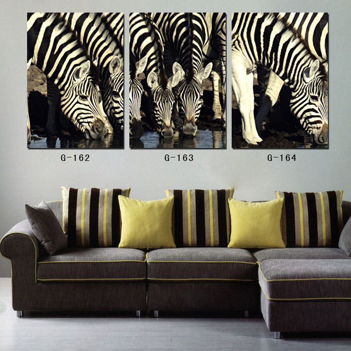 paintings on canvas modern wall art 3 pieces drinking zebra stretched canvas prints