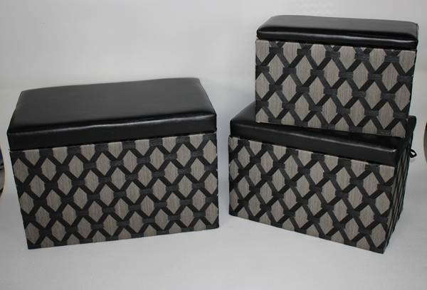 Paper rope storage trunk and ottoman set
