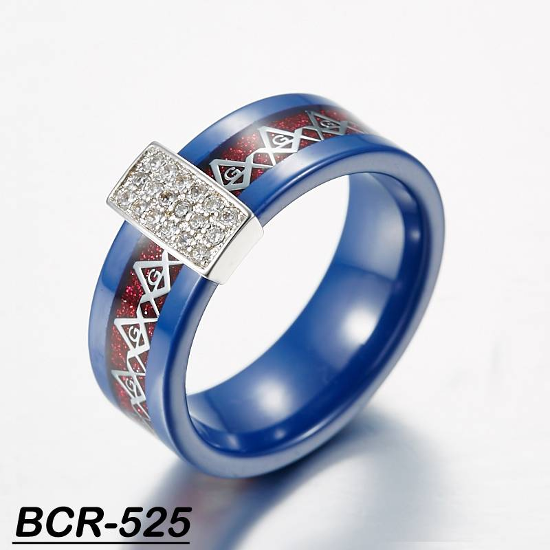 freemason ring with CZ inlay ceramic ring blue ceramic ring with silver