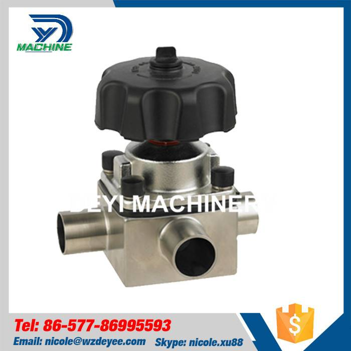 Stainless Steel Sanitary Tee Diaphragm Valve