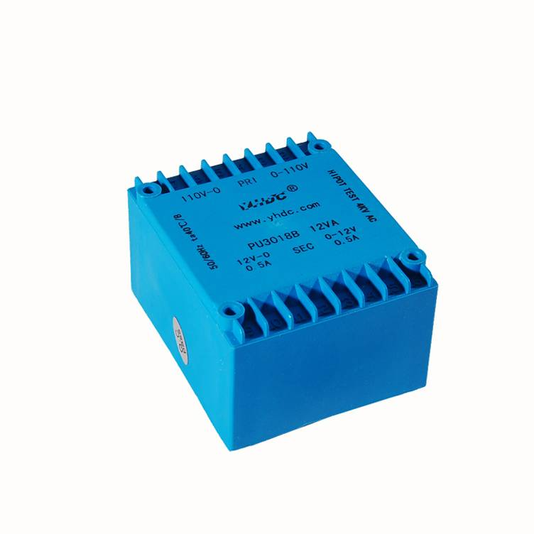 Low profile transformer PU3018B 12VA double 110V/double 9V flat type pcb transformer