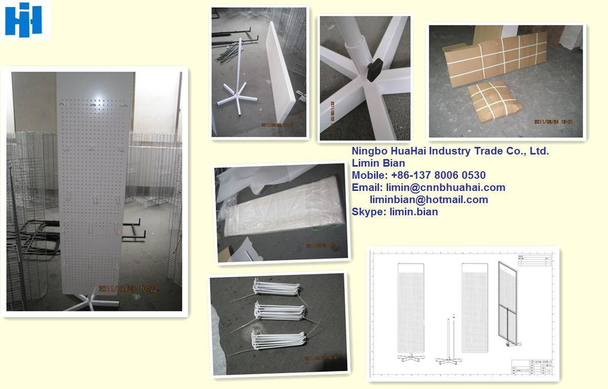Rotating perforated MDF display stand