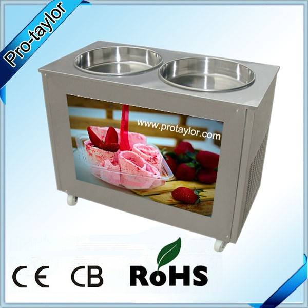Thailand Style Roll Fry Ice Cream Machine with Double Pans (ICM-980)