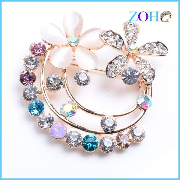 New arrival colorful brooch pretty flowers with crystal pins accessoriies