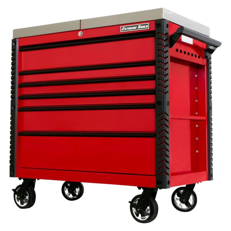 Extreme Tools 41-in 6 Drawer Stainless Steel Sliding Top Deluxe Tool Cart with Bumpers, Red with Bla