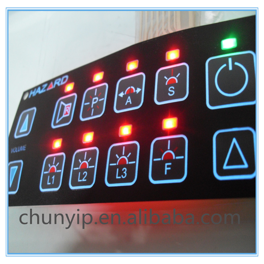 membrane switch panel with LED backligjht for commercial market application