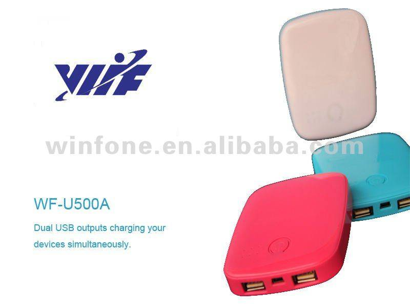 Colorful 5000mAH dual usb mobile phone charger with lithium polymer battery