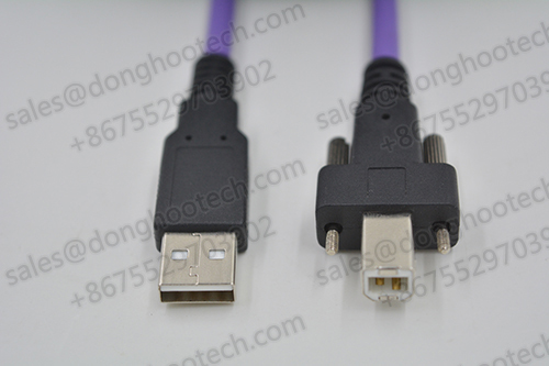 USB 2.0 A to B High Flex Cable with Screw Locking Device Cable