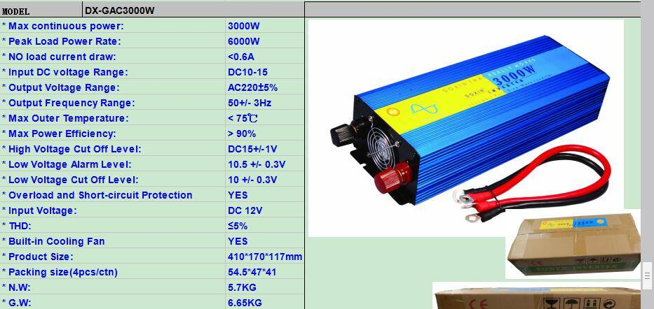 Doxin 3000w pure sine wave  inverter 12v 220v for solar system
