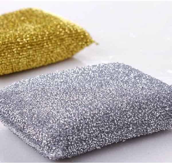 Granda 3 Pcs Rectangle Metallic Thread Design Scrub Cleaning Sponge Pad