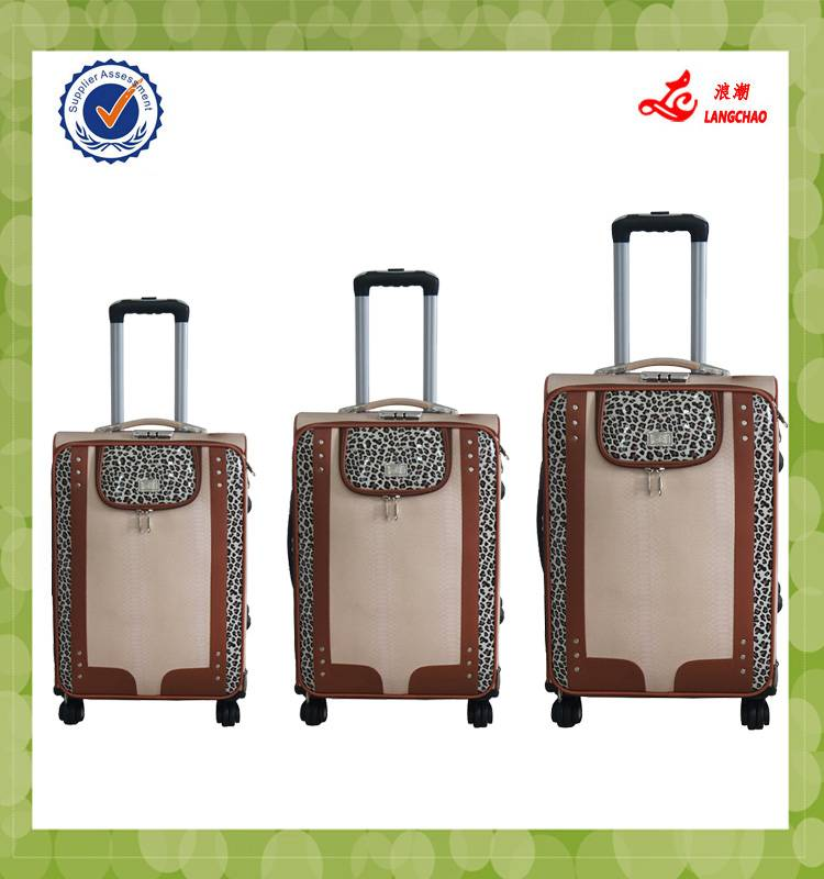 Lowest Price Three pcs Set 19 23 26inch Beige PU Material Langchao Brand Vintage trolley luggage