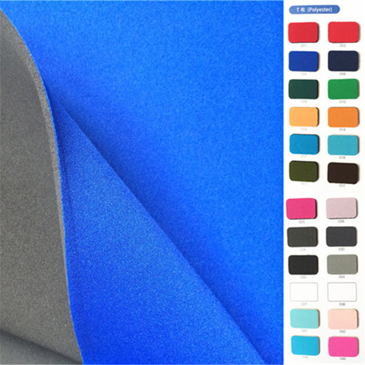 neoprene fabric one side coated polyester knitted fabric 2-2.2mm for apparel footwear bags lining