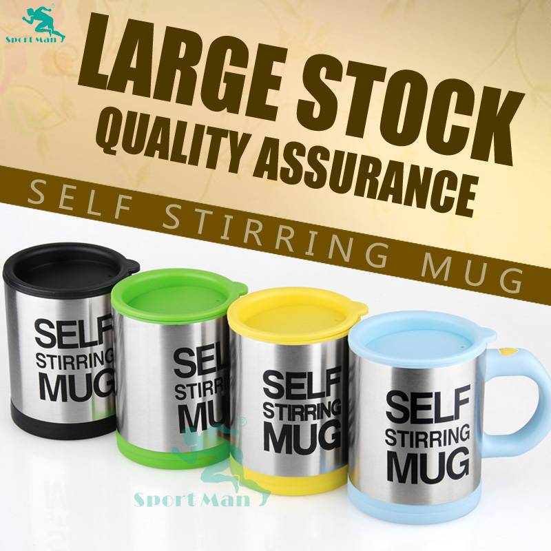 New Double Wall Stainless Steel Self Stirring Mug Mixing Cup Coffee Mug