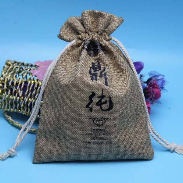 nice quality jute drawstring pouch with customzied logo printed