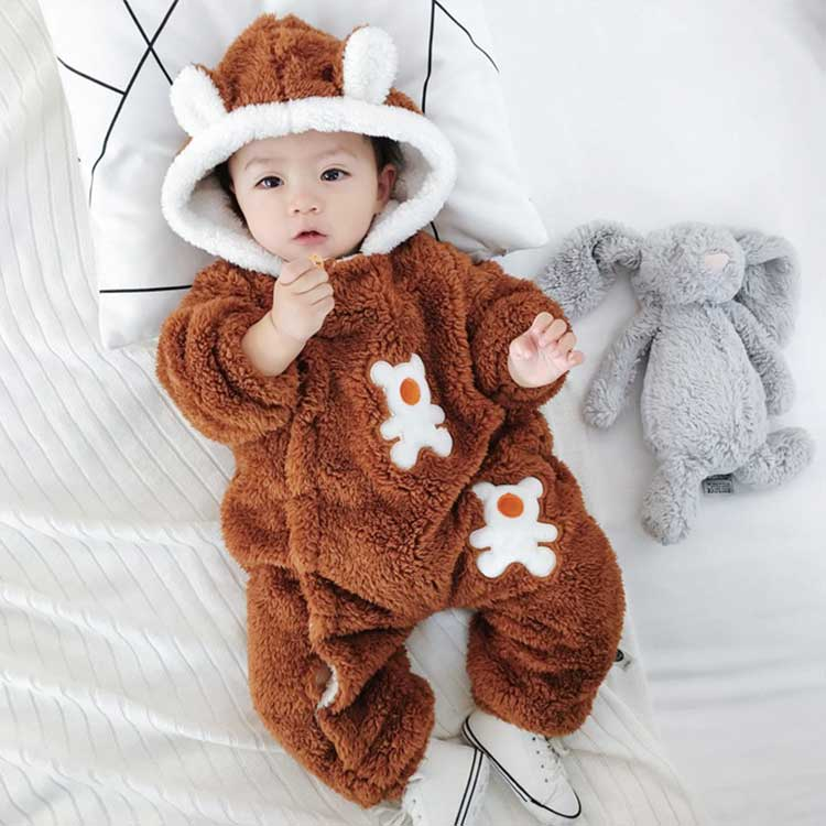 Fashion baby one piece jumpsuit clothes hooded baby romper
