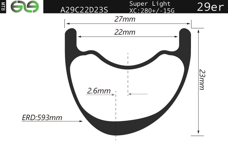 A29C22D23S super light 29er XC carbon bike rims 22mm tubeless compatible T800 availableA29C22D23S su
