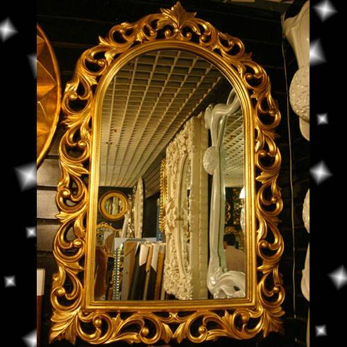 Antique French Rococo Wood Decorative Mirror, Shabby Chic Wooden Framed Decor Mirror, Large Gold Res
