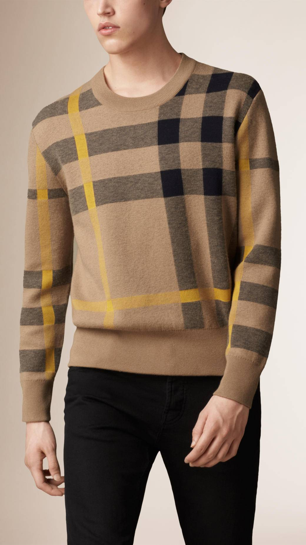 Men Stripe Crew Neck Cashmere sweater Winter Sweater