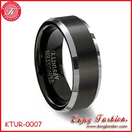 Black Tungsten Ring, Two Tone Black Plated Ring, Wedding Ring, Tungsten Ring Wholesale