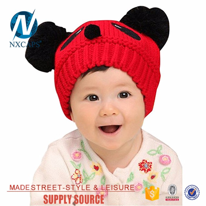 Toddler Baby Winter Cap Boys Girls Warm Headwear bear Hat the beanie with two balls