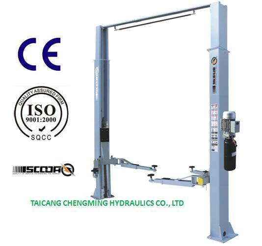 Manual Lock Release Clear Floor Inner Extension Two Post Car Lift with Ce ISO