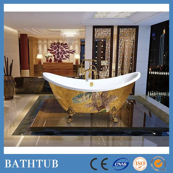 luxury one person clawfoot bathtubs with gold mosaic decor