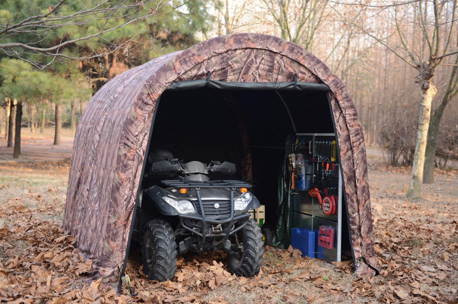 Camoflange ATV Shelter, Mini Portable Garage, 6 Leg Steel Frame 10 x10 x8-Feet