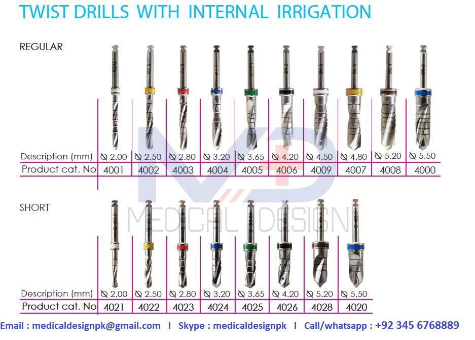 Twist Drills with internal irrigation