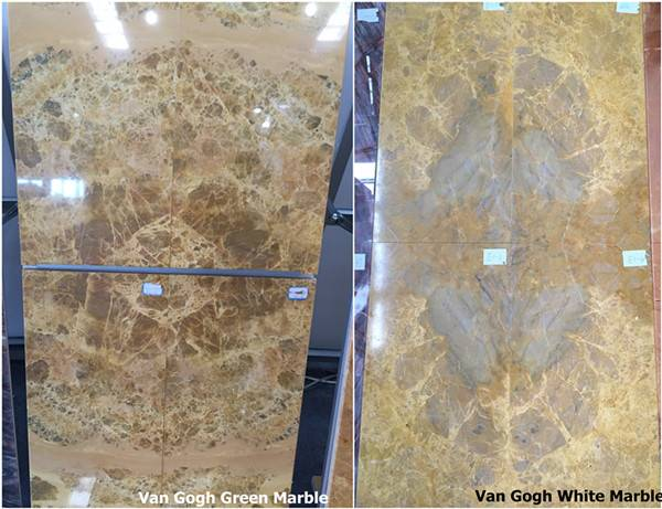 Yellow Marble Bookmatched Tiles (Cut To Sizes) - Van Gogh White/Green
