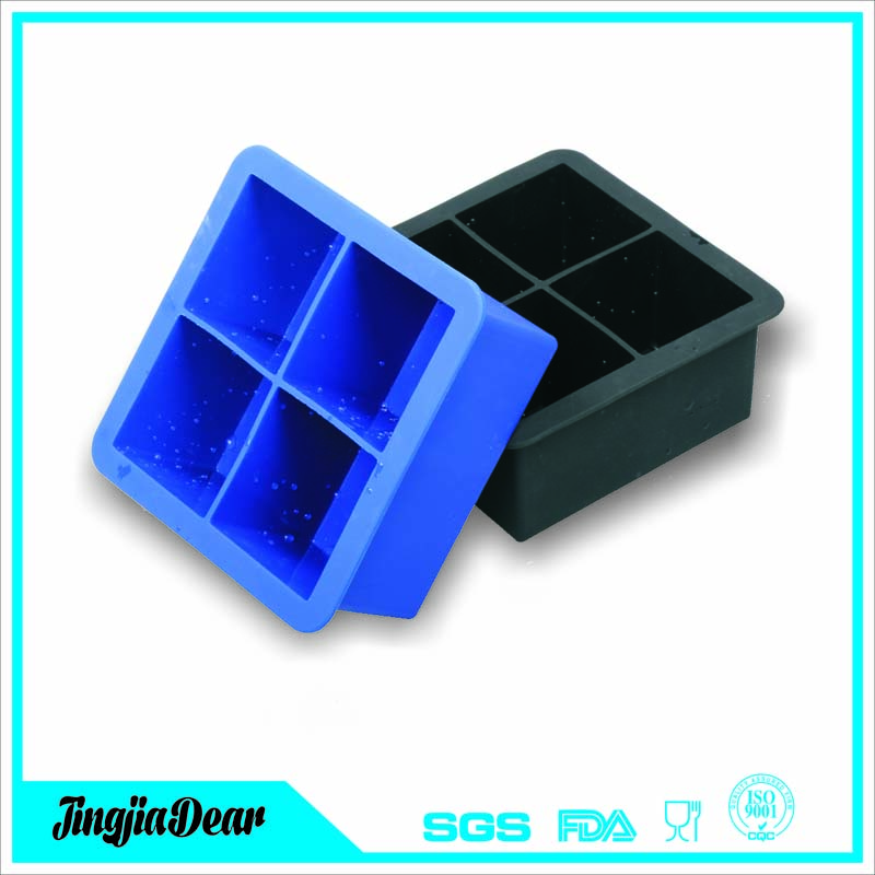 Silicone Large Ice Cube Tray Set for Whiskey - Silicone Ice Mold Maker - Molds 4 X 2 Inch Ice Cubes